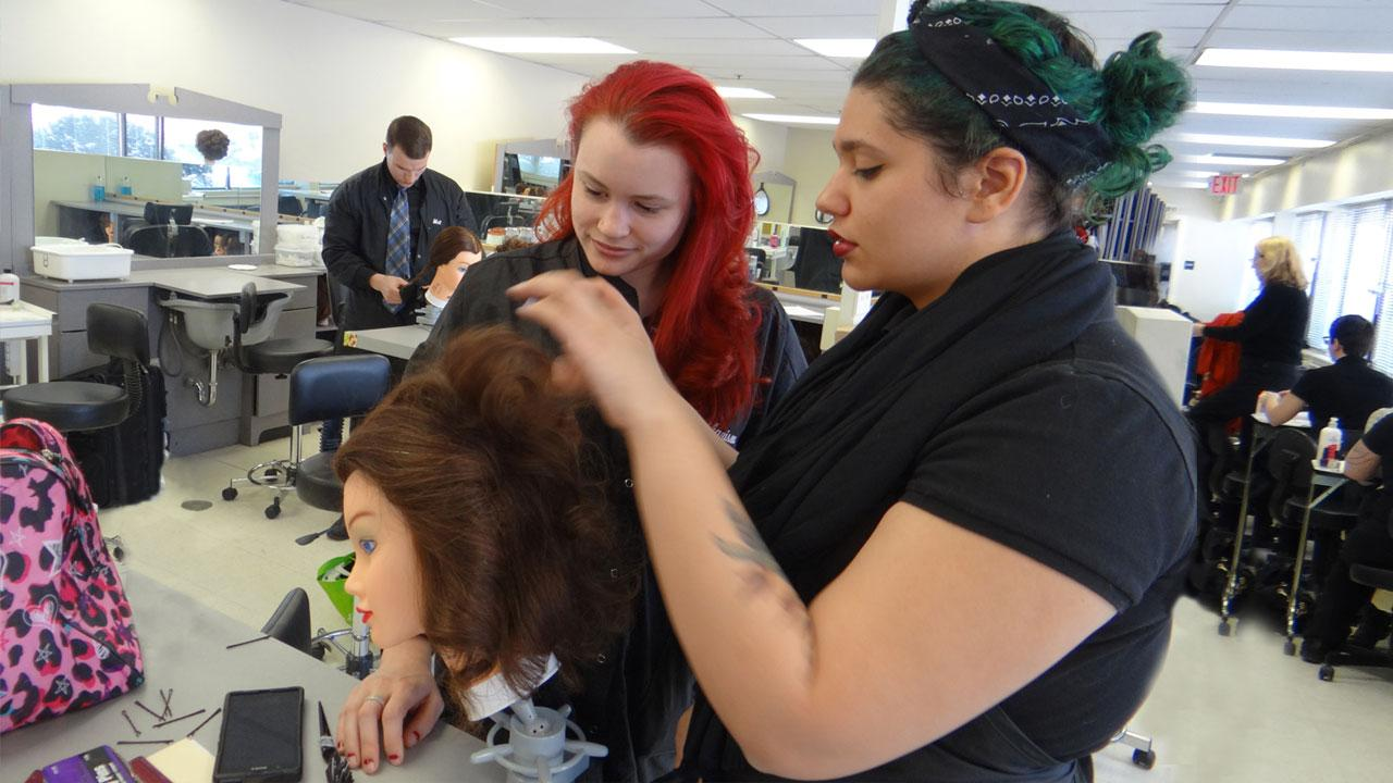 cosmetology hair styling practice