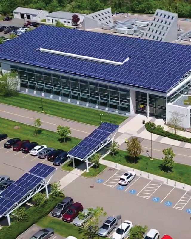 Solar panels on Danvers Health Professions and Student Services building